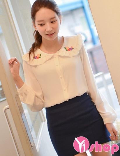 3 kiểu áo sơ mi nữ trắng hàn quốc đẹp hè 2016 cho nàng tinh tế nơi công sở - 11