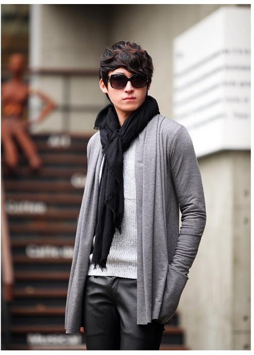 Mẫu áo khoác cardigan len nam dáng dài kiểu hàn quốc đẹp cá tính đông 2016 2017 - 2