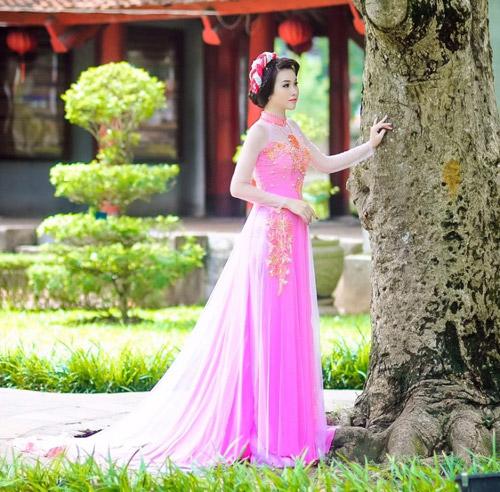 Áo dài hồng cho cô dâu ngọt ngào ngày vu quy - 1