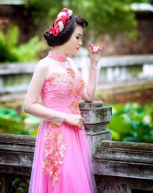 Áo dài hồng cho cô dâu ngọt ngào ngày vu quy - 3