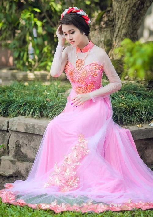 Áo dài hồng cho cô dâu ngọt ngào ngày vu quy - 4