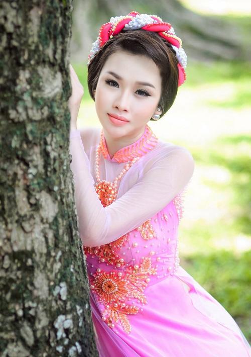 Áo dài hồng cho cô dâu ngọt ngào ngày vu quy - 5