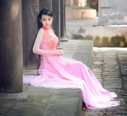 Áo dài hồng cho cô dâu ngọt ngào ngày vu quy - 6