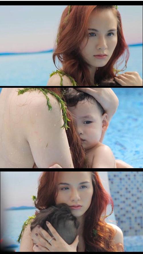 Hh diễm hương bán nude chụp ảnh cùng con trai - 2