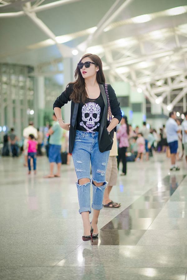 Thời trang sân bay điệu đà của hoa hậu á hậu việt - 4
