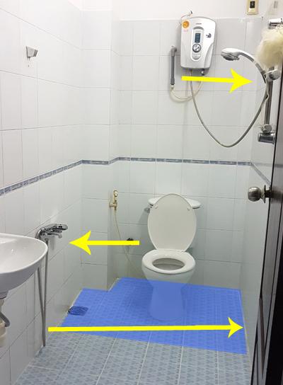 khu khô-ướt không tách biệt phòng tắm bí bức - 1
