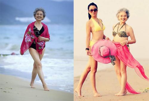 cụ bà u90 trung quốc làm người mẫu áo tắm - 2