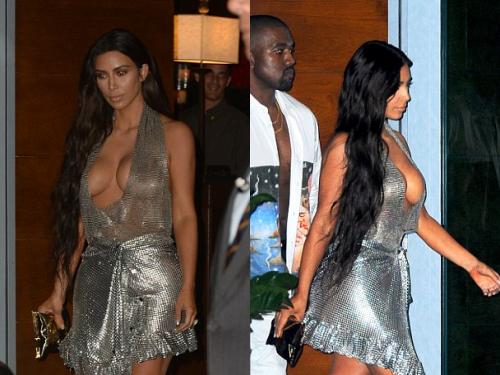 kim kardashian khoe vòng một với váy khoét ngực - 3