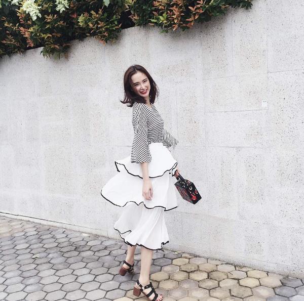 Những pha tung váy maxi đẹp xuất sắc của tăng thanh hà angela phương trinh - 6